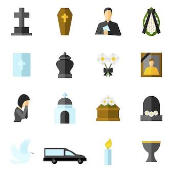 Begräbnis- flache icons set