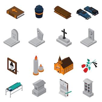 Begräbnis isometrische icons set