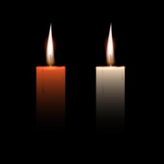 Begräbniskerzen, beileidsnachruf, vorlage rip-gedenkkondolenzsympathie. vektor-set-element für den designtor des todes trauergedächtnisses