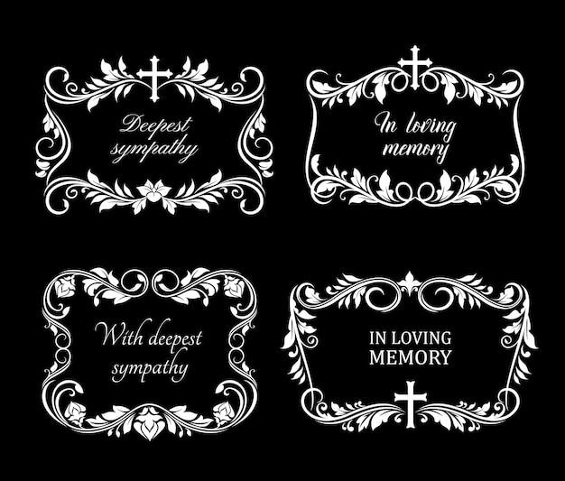 Begräbnisrahmen mit trauernden weißen blumen