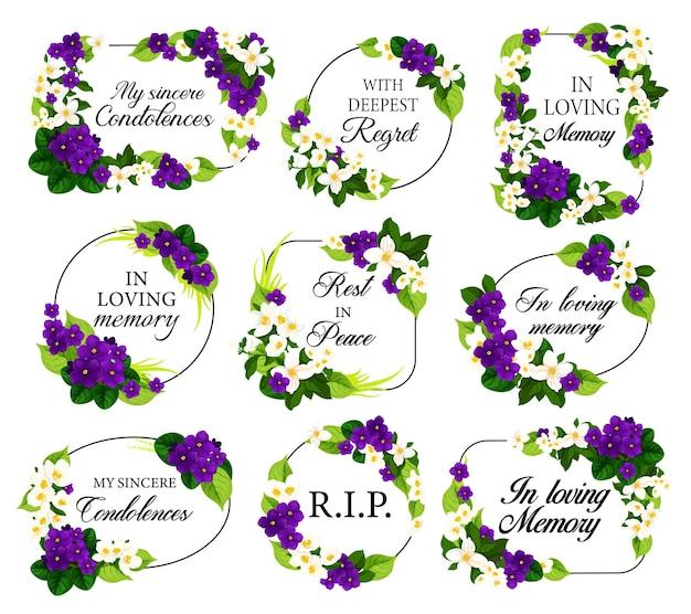 Begräbnisrahmen mit trauernden weißen und violetten blumen
