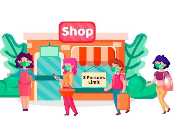 Begrenzte kunden in einem wiedereröffneten geschäft