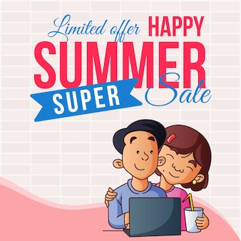 Begrenztes angebot happy summer sale banner-design