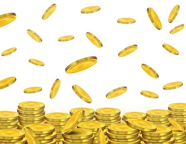 Begriffsdesign von fallenden goldenen münzen