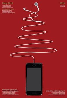 Begriffskopfhörer mit telefonvektorillustration