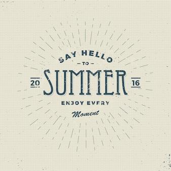 Begrüßen sie den sommer, vintage-zeichen