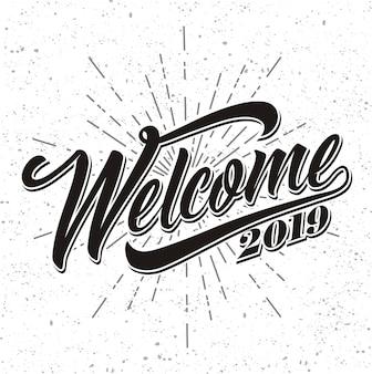 Begrüßung 2019 auf sunburst-hintergrund