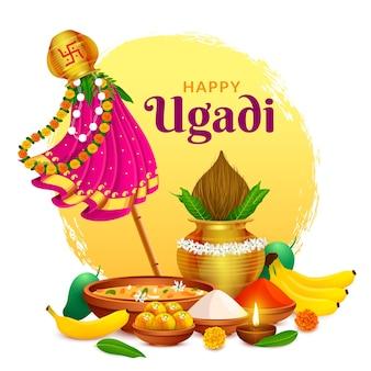 Begrüßung des traditionellen glücklichen ugadi gudhi für das indische neujahrsfest gudi padwa