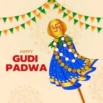 Begrüßung des traditionellen gudhi für das indische neujahrsfest gudi padwa ugadi