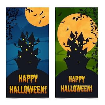 Begrüßung vertikaler halloween-banner mit spukhausfriedhofszweigen und fledermäusen