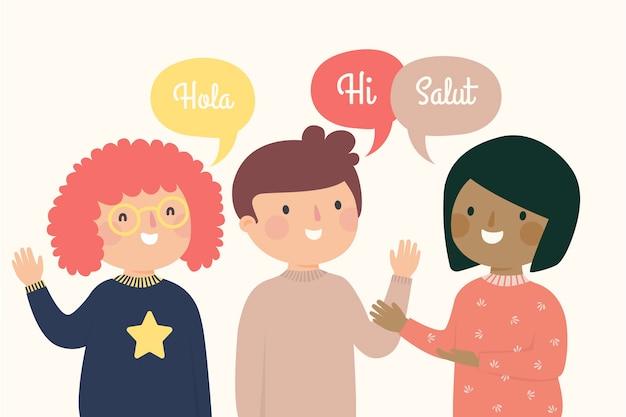 Begrüßung von menschen in verschiedenen sprachen