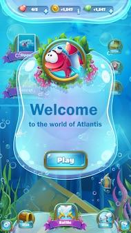 Begrüßungsbildschirm für die untersee-spieloberfläche