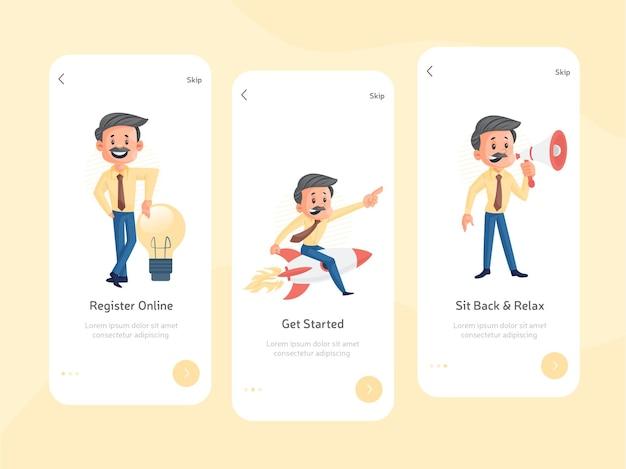 Begrüßungsbildschirm für mobile apps flaches design