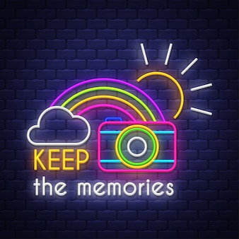 Behalte die erinnerungen. leuchtreklame schriftzug