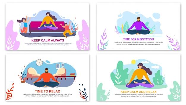 Behalten sie immer ruhe, zeit für meditationsbanner