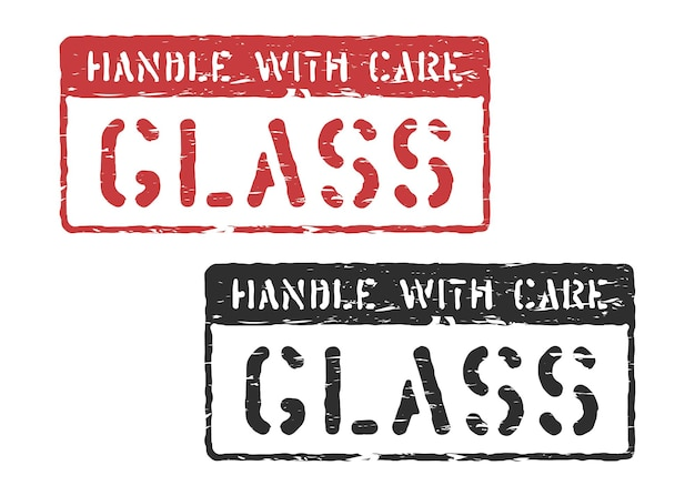 Behandeln sie den gummifrachtstempelaufdruck für die logistik einzeln. vector rotes und schwarzes glas, zerbrechliches kastenzeichen lokalisiert auf weißem hintergrund
