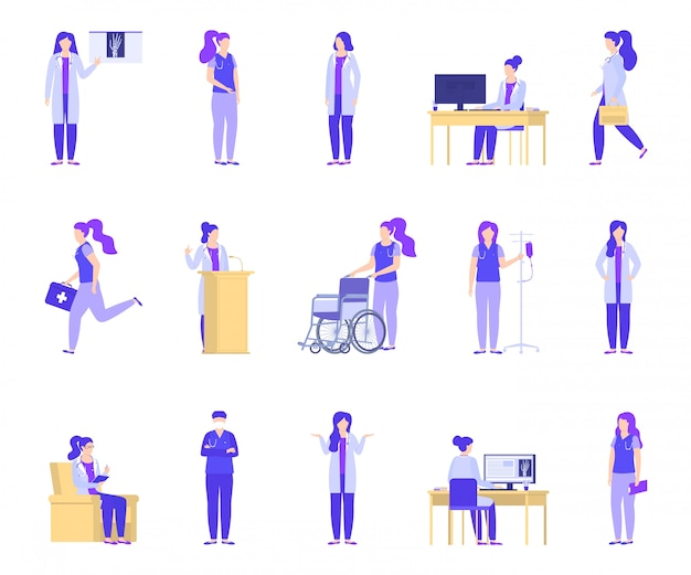 Behandeln sie die frau, die in der medizinischen klinik, krankenhaussatz arbeitet.