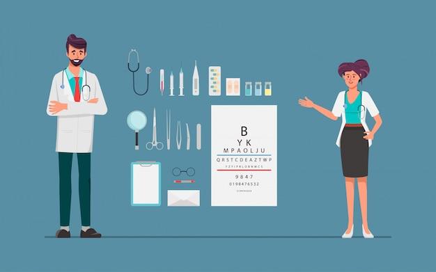 Behandeln sie frauen- und manndoktorcharakter mit behandlungsausrüstungswerkzeugen. krankenhaus menschen arbeiten charakter.