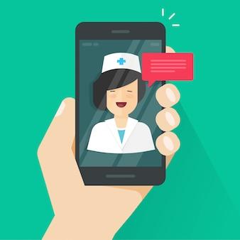 Behandeln sie online an der handy- oder smartphonetelemedizin-vektorillustration in der flachen karikatur