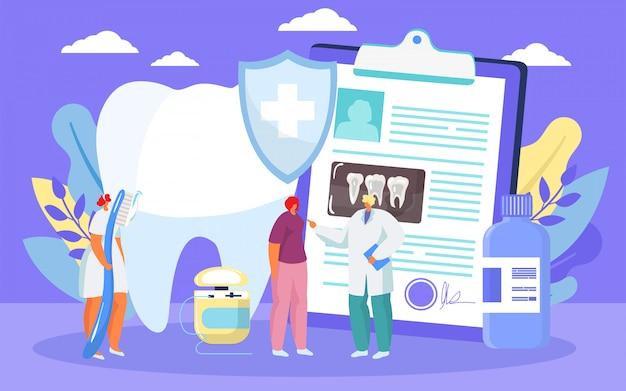 Behandlung von karies, zahnheilkunde für gesunde zähne durch zahnarztkarikaturillustration.