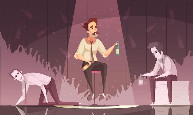 Behandlungs-alkoholismus-vektor-illustration