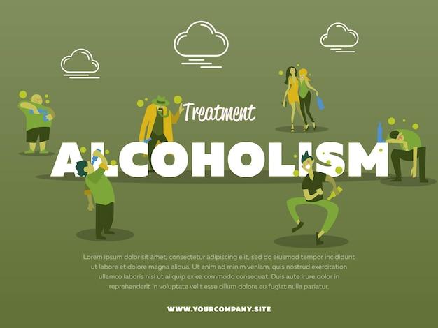 Behandlungsalkoholismus-plakatschablone mit getrunkener alkoholischer illustration