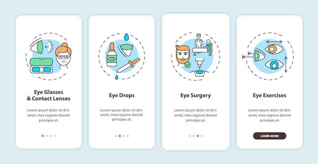 Behandlungsmethoden für augenkrankheiten onboarding des bildschirms der mobilen app mit konzepten. komplettlösung für brillen und kontaktlinsen 4 schritte grafische anleitung. ui-vorlage mit rgb-farbabbildungen