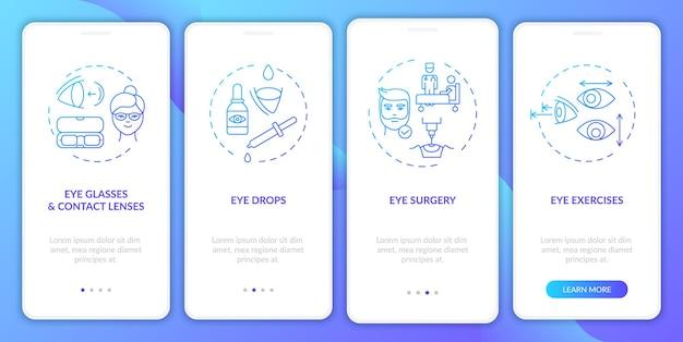 Behandlungsmethoden für augenkrankheiten onboarding des bildschirms der mobilen app-seite mit konzepten und abbildungen
