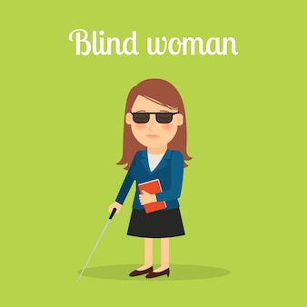 Behinderte blinde frau