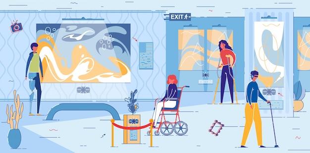 Behinderte, die das lokale museum für moderne kunst besuchen