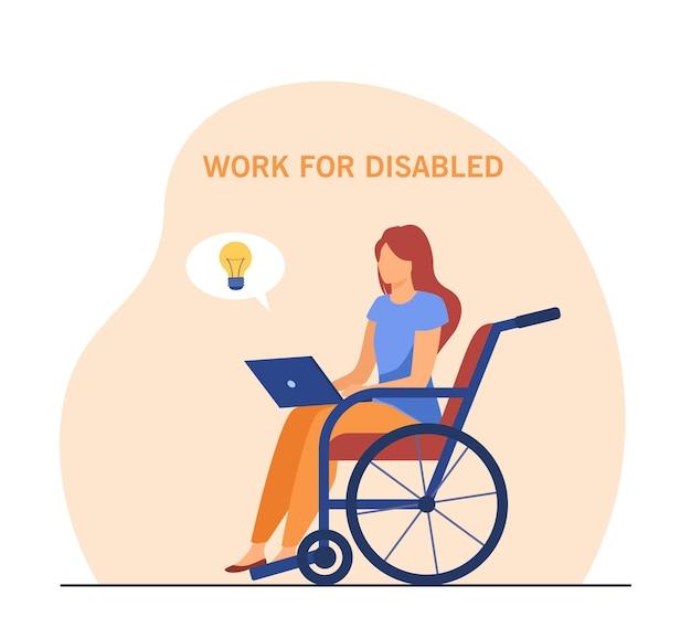 Behinderte frau, die am laptop arbeitet