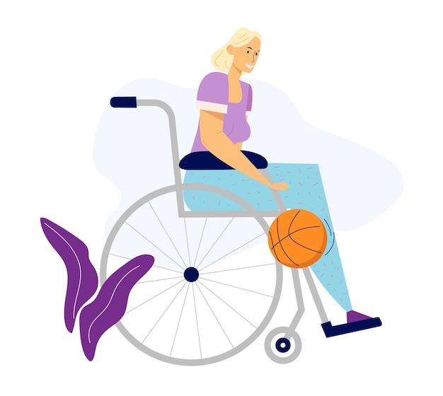 Behinderte frau im rollstuhl, die basketball spielt. sportlerin mit behinderung, rehabilitationskonzept für körperliche aktivität.