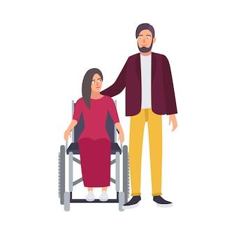Behinderte frau sitzt im rollstuhl und ihr romantischer partner oder freund steht daneben.