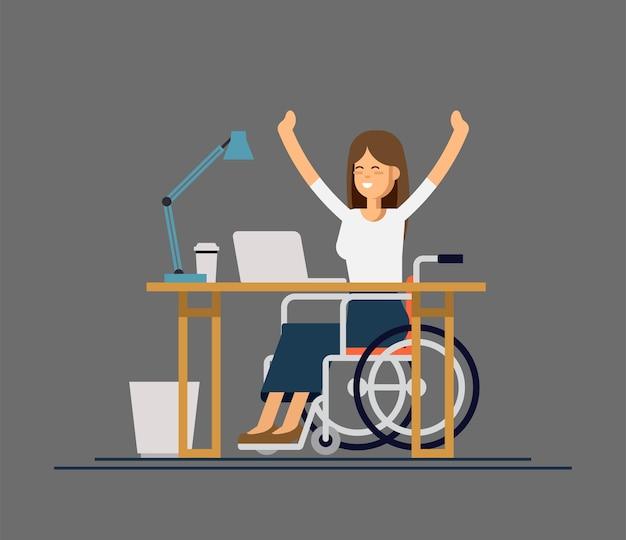 Behinderte junge frau im rollstuhl, die mit computer im büro arbeitet. flache artkarikaturillustration