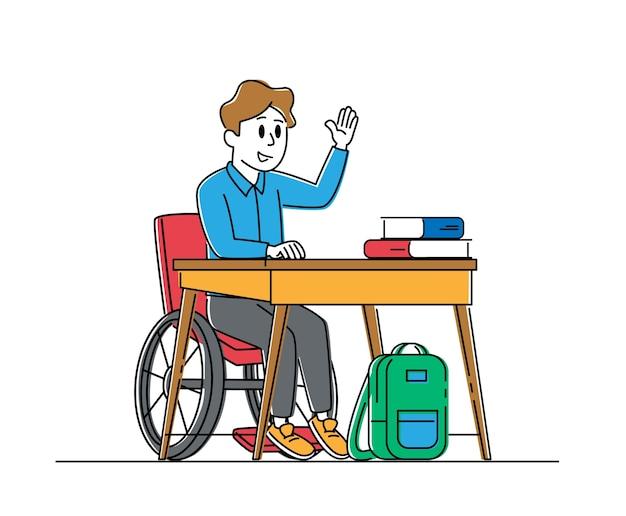 Behinderte jungenfigur im rollstuhl, die am schreibtisch sitzt