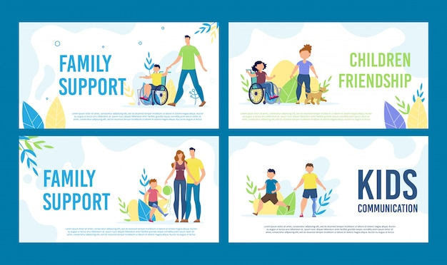 Behinderte kinder happy life banner set