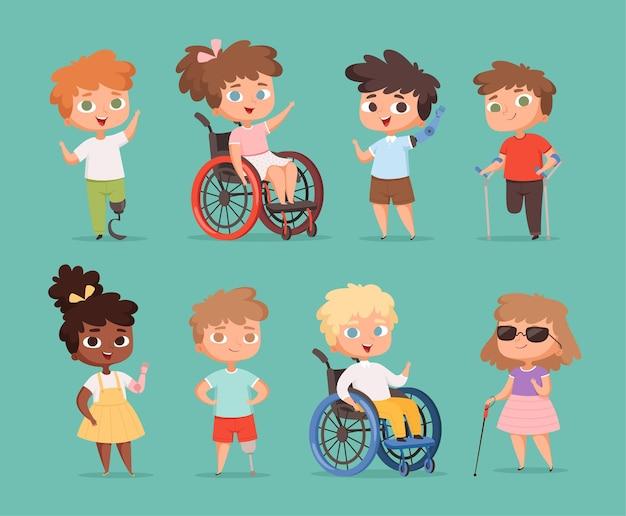 Behinderte kinder. kinder sitzen in rollstühlen behinderten kleinen personen in schulkarikaturillustrationen.