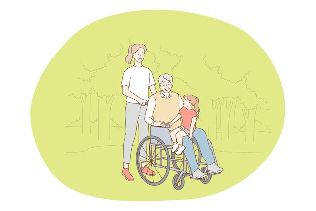 Behinderte menschen auf rollstuhl leben glücklich aktiven lebensstil konzept Premium Vektoren