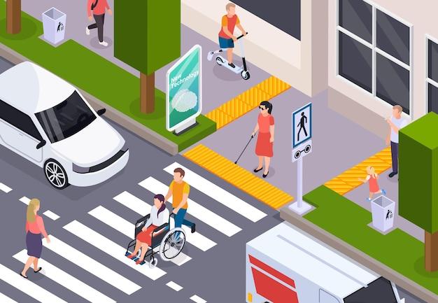 Behinderte menschen, die die straße im rollstuhl überqueren und einen blindenstock auf der isometrischen zusammensetzung des taktilen bürgersteigs verwenden using