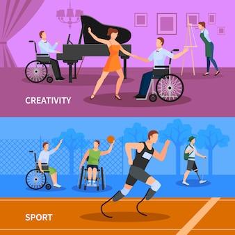 Behinderte menschen, die sport treiben und ein kreatives leben führen