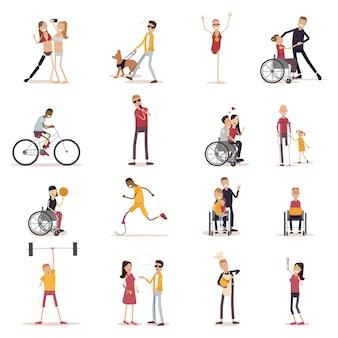 Behinderte menschen icons set