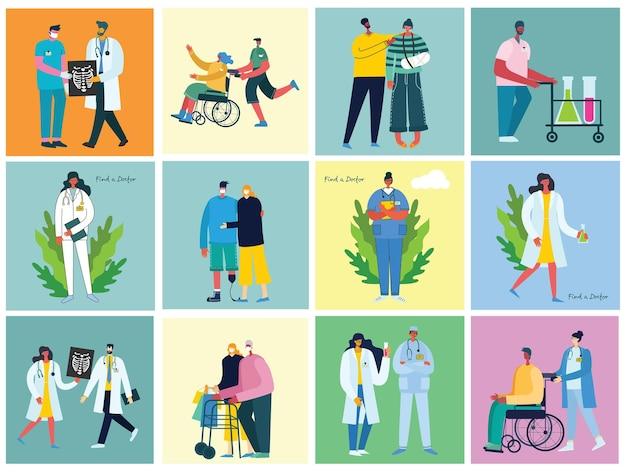 Behinderte menschen, junge handycap-leute und freunde helfen. welttag der behinderung. flache zeichentrickfiguren.