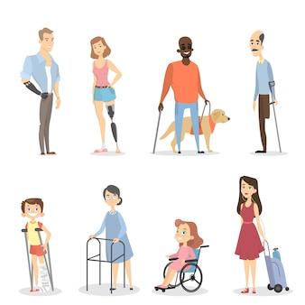 Behinderte menschen mit bein- oder armabwesenheit oder blindheit.