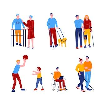 Behinderte menschen mit freunden und assistenten. männer und frauen mit verschiedenen geräten und prothesen.