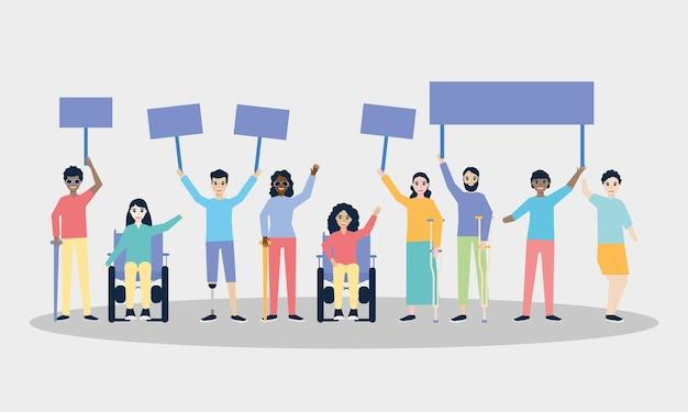 Behinderte menschen mit plakatgestaltung