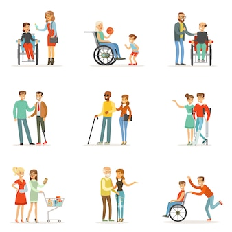 Behinderte menschen und freunde helfen ihnen beim einstellen. karikatur detaillierte bunte illustrationen