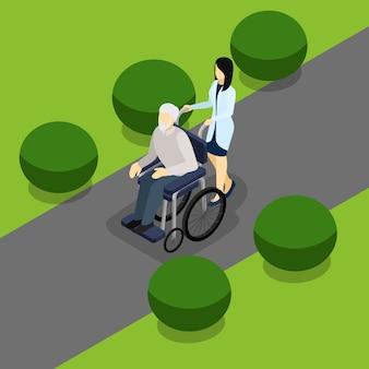 Behinderte rentner menschenleben isometrische banner
