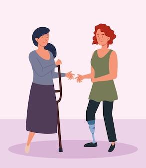 Behinderte und amputierte frauen