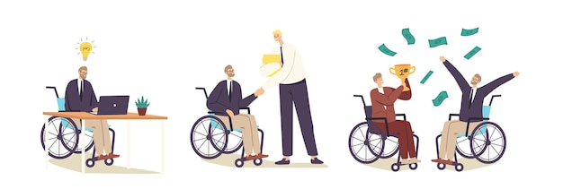 Behindertenarbeit, arbeit für behinderte menschen konzept. behinderte geschäftsmann-charaktere auf rollstuhl-anpassung am büroarbeitsplatz, handshake, sieg oder erfolg. cartoon-vektor-illustration