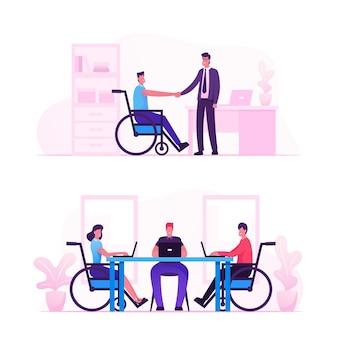 Behindertenbeschäftigung, arbeit für behinderte menschen, wir stellen das konzept aller menschen ein. karikatur flache illustration